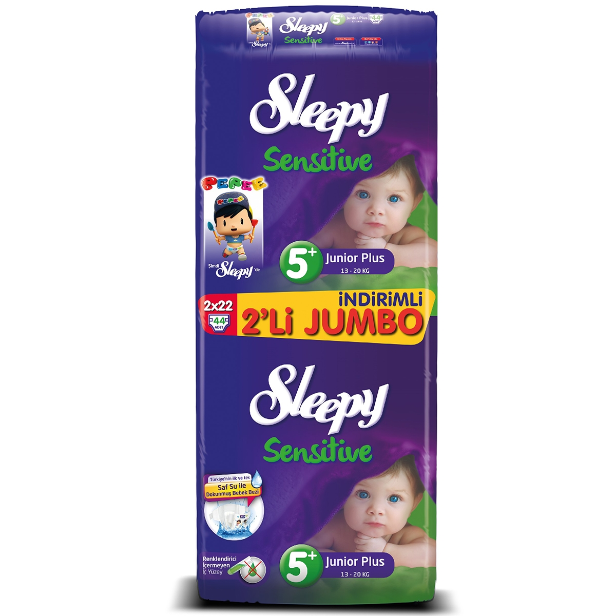 Sleepy 2'li Jumbo Bebek Bezi  5+ Beden Junior Plus 2x22