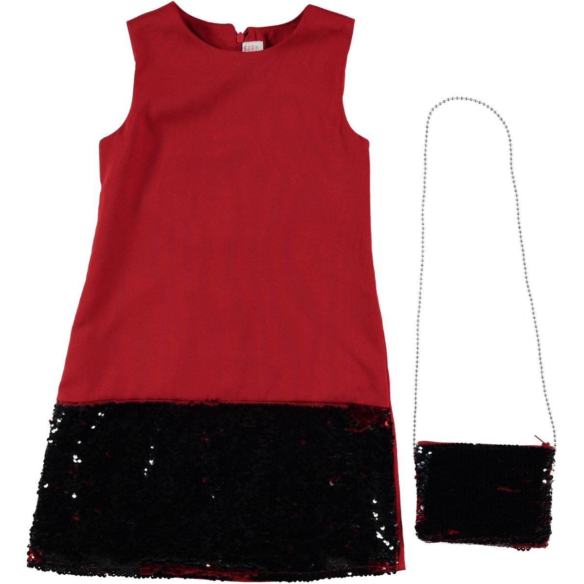 57393cb643cff 119257 / KRM Missiva Kız Çocuk Çantalı Elbise 10-13 Yaş Kırmızı