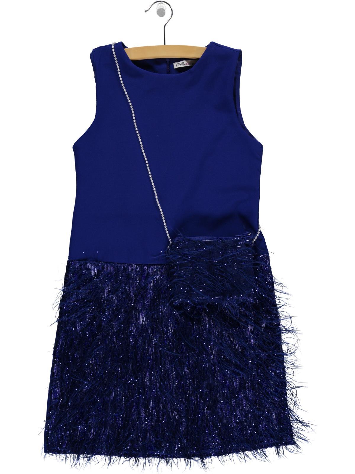 e65c2151ac716 119254 / SAK Civil Girls Kız Çocuk Çantalı Elbise 10-13 Yaş Saks Mavisi