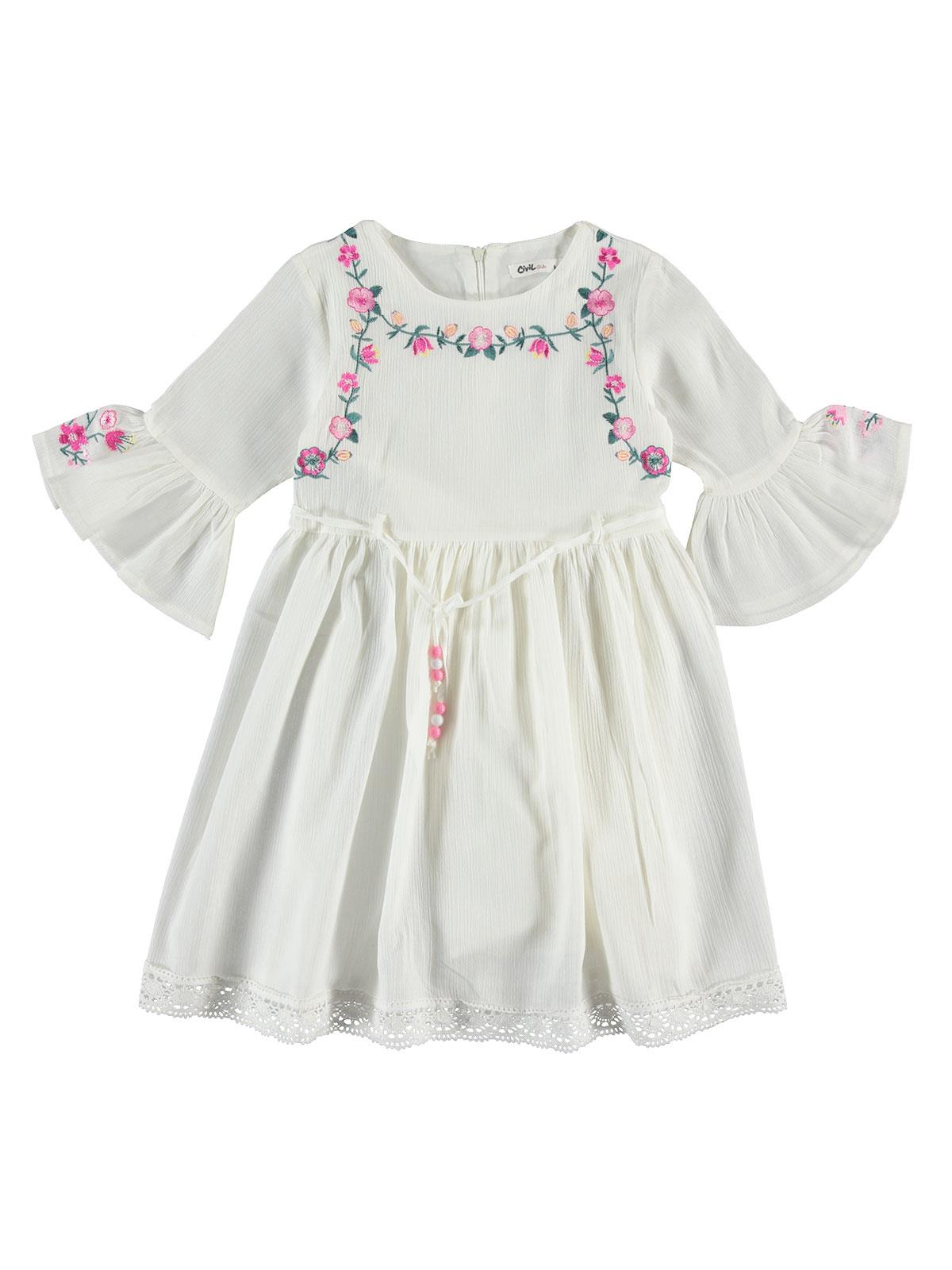 16ebbea8b3164 2876 / EKR Civil Girls Kız Çocuk Elbise 6-9 Yaş Ekru