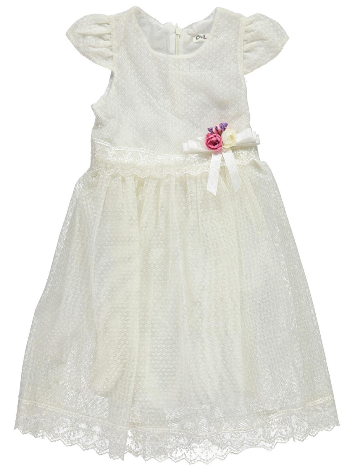 b57dd025732e5 119072 / EKR Civil Girls Kız Çocuk Elbise 6-9 Yaş Ekru
